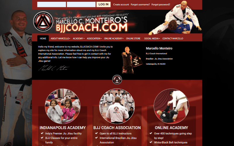 Brazilian Jiu Jitsu Coach Joomla Website Development